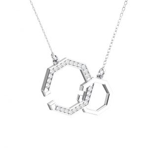 Pave Set Round Brilliant Cut Diamonds Open Hexagon Pendant in White Gold