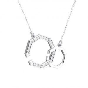 Pave Set Round Brilliant Cut Diamonds Open Hexagon Pendant in White Gold