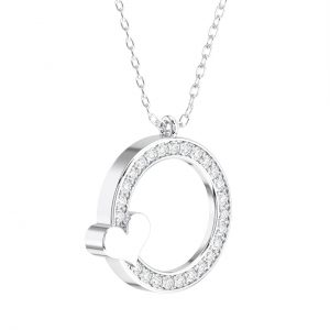Pave Set Round Brilliant Cut Diamond Circle Shaped Heart Pendant in White Gold