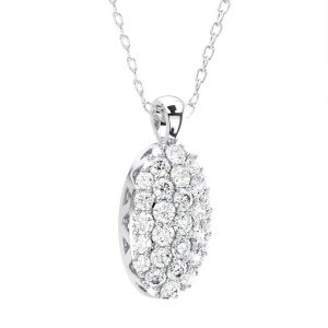 Pave Set Round Brilliant Diamond Oval Shaped Pendant in White Gold