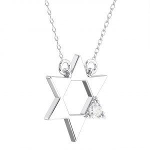 Pave Set Round Brilliant Diamond Star Pendant in White Gold