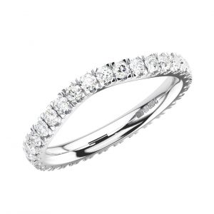 FR1588A1 Surface Prong Set Round Brilliant Cut Diamonds Wishbone Shape Full Eternity Ring in White Gold -1