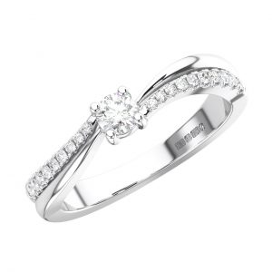 FR1657 Claw Set Round Brilliant Cut Diamonds Engagement Ring in White Gold -1