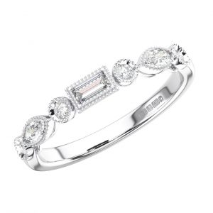 Bezel Set Round Marquise and Baguette Diamonds Half Eternity Ring in White Gold