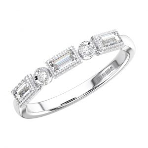 Bezel Set Round and Baguette Diamonds Half Eternity Ring in White Gold