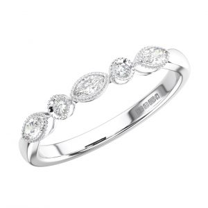 Bezel Set Round and Marquise Diamonds Half Eternity Ring in White Gold