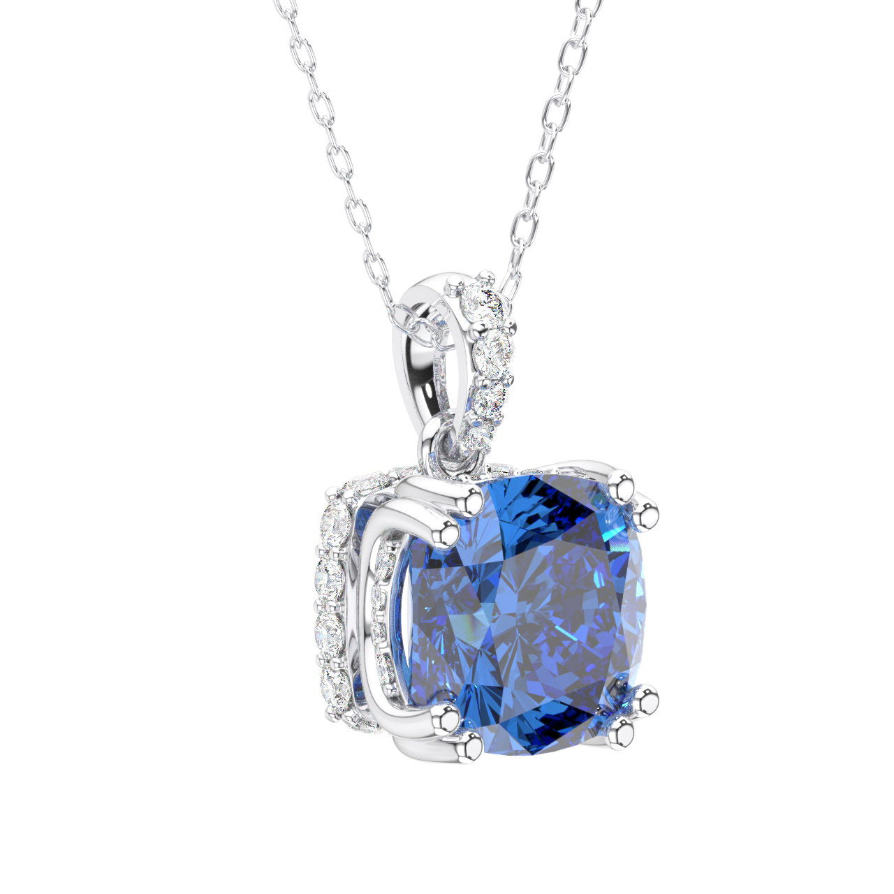 1.42 Ct Round Blue Tanzanite and Diamond 18K Yellow Gold Plated Silver Pendant