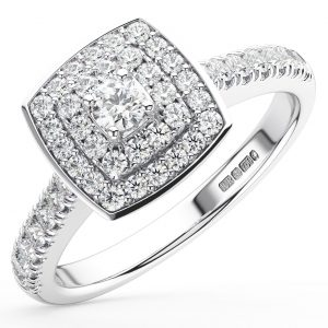 FR1107 Claw Set Round Brilliant Cut Diamonds White Gold Halo Engagement Ring (7)