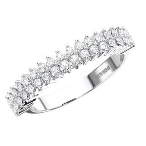 FR1234 Claw Set Round Brilliant Cut Diamonds White Gold Half Eternity Ring (4)