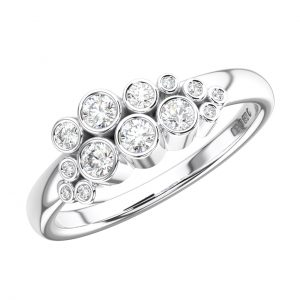 FR1254 Bezel Set Round Brilliant Cut Diamonds White Gold Half Eternity Ring (6)