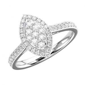 FR1275 Pave Set Round Brilliant Cut Diamond White Gold Engagement Half Eternity Ring (1)