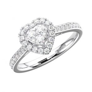 FR1276 Pave Set Round Brilliant Cut Diamond White Gold Heart Shape Wedding Ring (4)