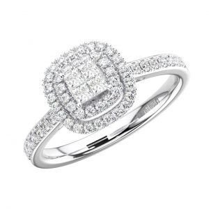 FR1297 Invisible Set Round & Princess Cut Diamond white Gold Wedding Ring (1)