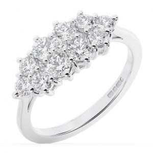 FR1305 Claw Set Round Brilliant Cut Diamonds Wedding Ring in White Gold -1