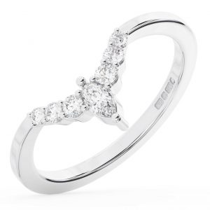 FR1313 Claw Set Marquise & Round Cut Diamond Weddig Ring in White Gold 1