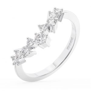 FR1315 Claw Set Round Brilliant Cut Diamonds Wedding Ring in White Gold 1