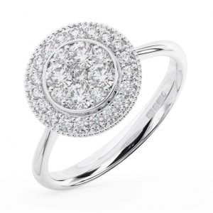 FR1332 Cluster Set Round Brilliant Cut Diamonds White Gold Engagaement Ring (4)