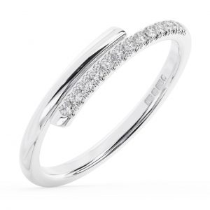 FR1334 Mircro-Pave Set Round Brilliant Cut Diamonds Wedding Ring in White Gold 1