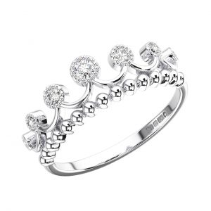FR1345 Bezel Set Round Brilliant Cut Diamonds White Gold King Shape Wedding Ring (7)