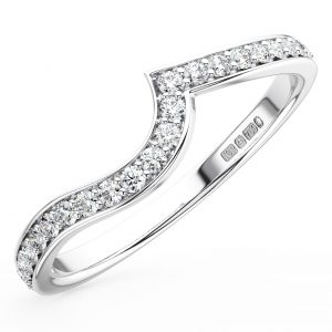FR1384 Pave Set Round Brilliant Cut Diamonds White Gold Half Eternity Wedding Ring (5)