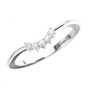 FR1670 Claw Set Round Brilliant Cut Diamonds White Gold Half Eternity Ring (1)