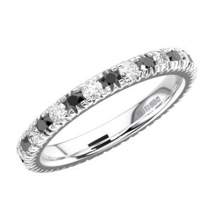 RFR001F Pave Set Round Diamond and Black Stone White Gold Full Eternity Ring (6)