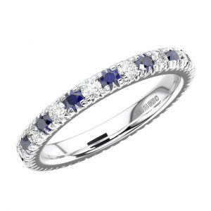 RFR001F Pave Set Round Diamond and Blue Sapphire White Gold Full Eternity Ring (8)