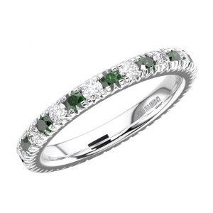 RFR001F Pave Set Round Diamond and Emerald White Gold Full Eternity Ring (8)
