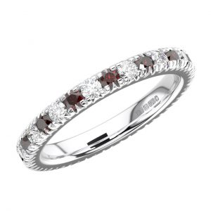 RFR001F Pave Set Round Diamond and Ruby White Gold Full Eternity Ring (10)