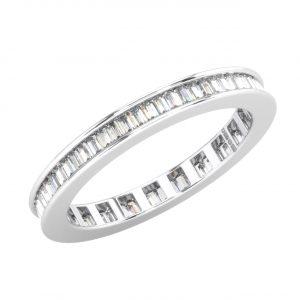FR0566A25 Channel Set Baguette Cut Diamond White Gold Full Eternity Ring (8)