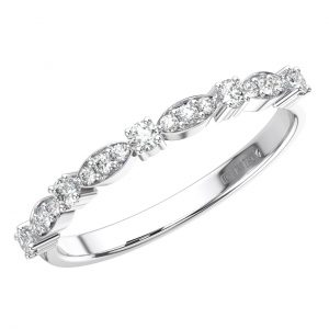 FR1564 Claw & Marquise Shape Pave Set Round Brilliant Cut Diamonds Wedding Ring in 9K White Gold (2)