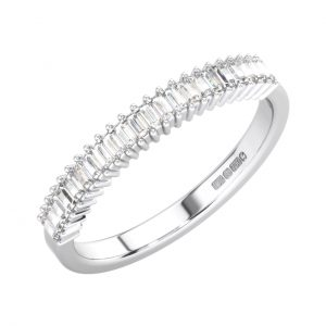 FR1682H Claw Set Baguette Cut Diamond White Gold Half Eternity Ring (7)