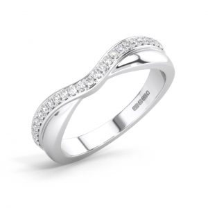 F4.5R1050 Round Brilliant Cut Diamonds Half Eternity Wedding Ring White Gold (6)