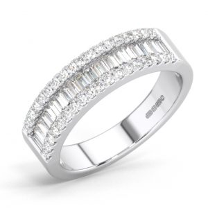 FR0135 Round & Baguette cut Diamond Half Eternity Wedding Ring in White Gold (1)