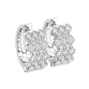 FE1149 Pave Set Round Brilliant Cut Diamonds Hoop Earrings in White Gold (5)