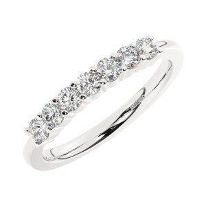 FR1762-7 Prong Set Round Brilliant Cut Diamond Seven Stone Ring in White Gold (1)