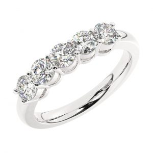 FR1763-4 Prong Set Round Brilliant Cut Diamond Five Stone Ring in White Gold (3)