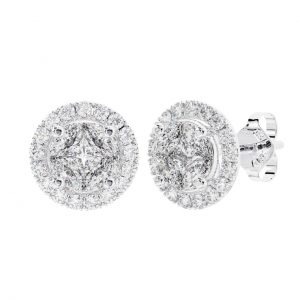 FE0960 Claw Set Round, Marquise & Princess Cut Diamonds Stud Earring in White Gold (1)