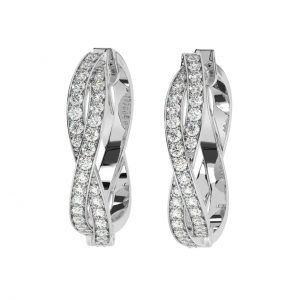 FE1165 Prong Set Round Brilliant Cut Diamond Hoop Earrings in White Gold (4)