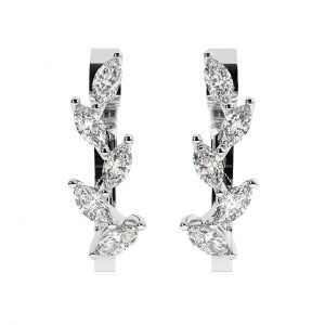 FEA1155 Claw Set Marquise Cut Diamond Hoop Earrings in White Gold (1)