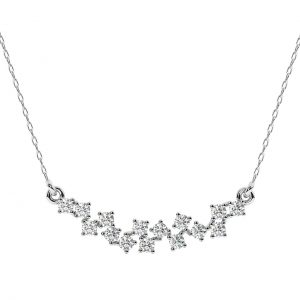 FNK159 Claw Set Round Brilliant Cut Diamond Necklace in White Gold (1)