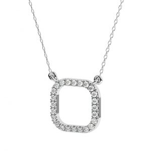 FNK160 Claw Set Round Brilliant Cut Diamond Necklace in White Gold (1)