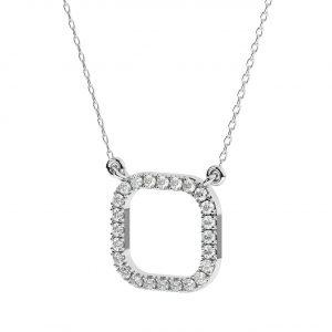 FNK160 Claw Set Round Brilliant Cut Diamond Necklace in White Gold (1)