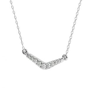 FNK161 Fishtail Set Round Brilliant Cut Diamond Necklace in White Gold (3)