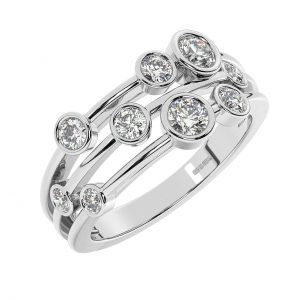 FR0685 Bezel Set Round Brilliant Cut Diamonds Half Eternity Ring in White Gold (1)