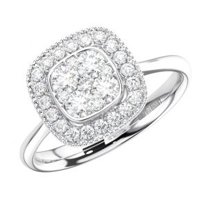 FR1335 Pave Set Round Brilliant Cut Diamond Engagement Ring in White Gold (3)