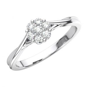 FR1567 Cluster Set Round Brilliant Cut Diamond Engagement Ring in White Gold (4)