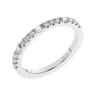 F2R1064 Claw Set Round & Baguette Cut Diamond Half Eternity Ring in White Gold (8)