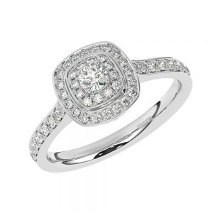 FR1790 Micro Prong Set Round Brilliant Cut DiamondHalo Engagement Ring in White Gold (6)
