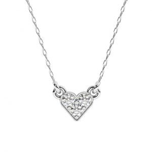 FNK197 Pave Set Round Brilliant Cut Diamond Heart Shape Necklace in White Gold (5)